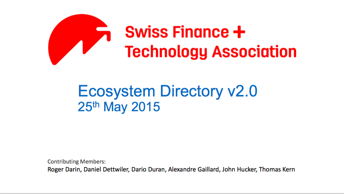 Swiss FinTech Ecosystem v2 0 in PDF now available – Swiss